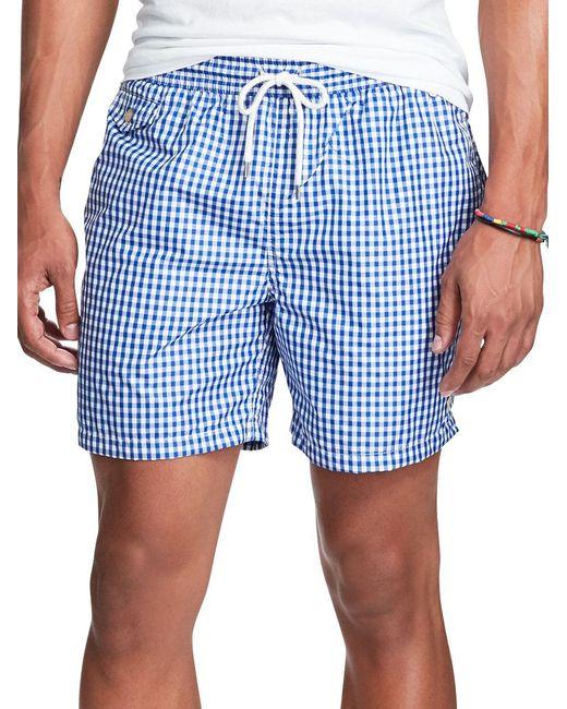 f291166738 Polo Ralph Lauren - Blue Gingham Traveler Swim Shorts for Men - Lyst ...