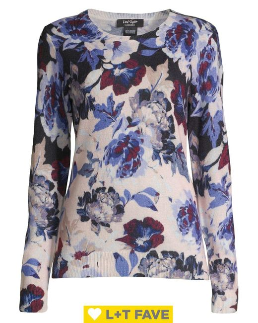 Lord & Taylor Blue Plus Floral Cashmere Boatneck Sweater