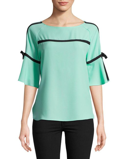 CALVIN KLEIN 205W39NYC - Green Tie-sleeve Blouse - Lyst