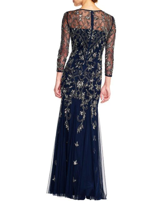 3c432d94 ... Adrianna Papell - Blue Beaded 3/4 Sleeve Gown - Lyst ...