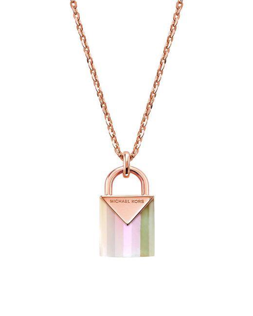 Michael Kors Metallic Kors Color Mercer Mother Of Pearl Padlock Pendant Necklace