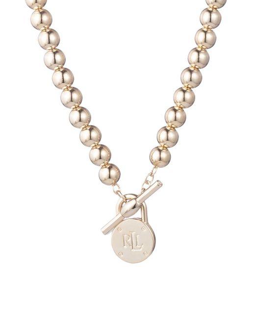 Lauren by Ralph Lauren - Metallic Logo Toggle Necklace - Lyst