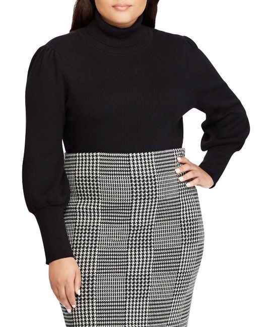46c4eb8b44a Lauren by Ralph Lauren - Black Plus Ribbed Puff-sleeve Sweater - Lyst ...