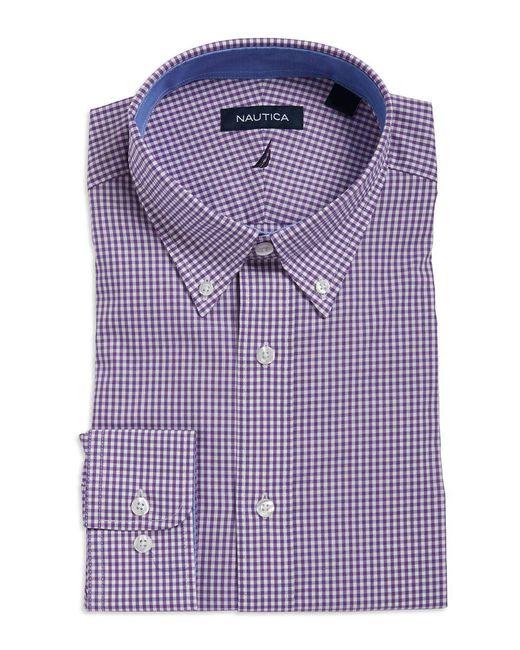 Nautica - Purple Checkered Cotton Dress Shirt for Men - Lyst