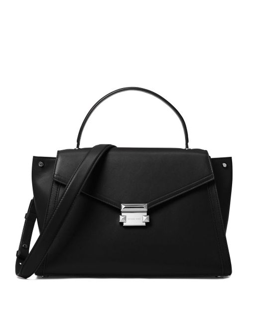 a48f524f4ba1 Lyst - Michael Michael Kors Whitney Large Leather Satchel in Black