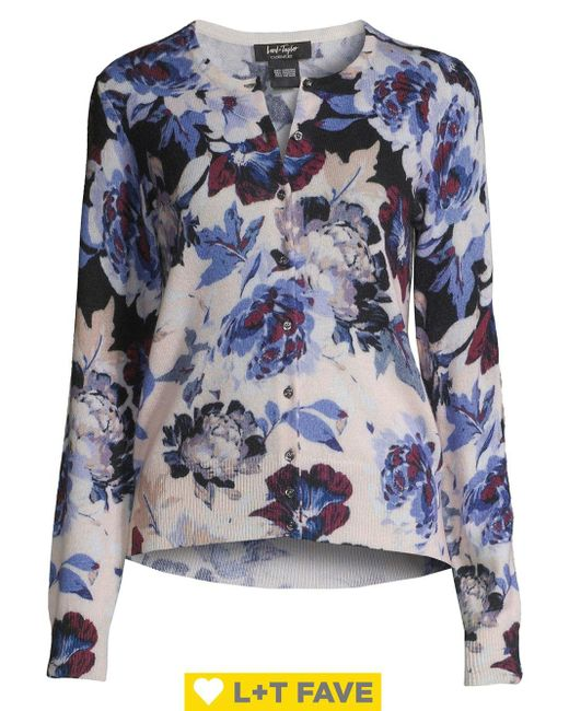 Lord & Taylor Blue Twight Floral Button Front Cashmere Cardigan