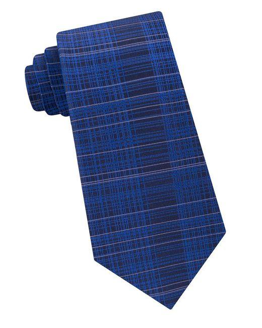 CALVIN KLEIN 205W39NYC - Blue Hi-lo Plaid Silk Tie for Men - Lyst