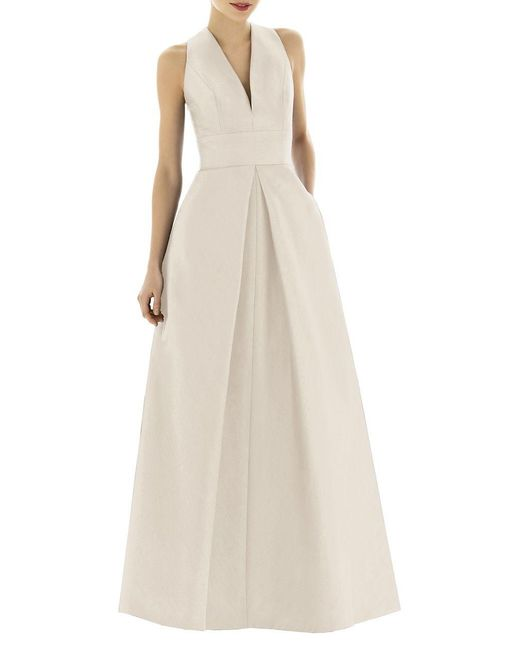 Alfred Sung - Natural Full Length V-neck Dupioni Dress - Lyst