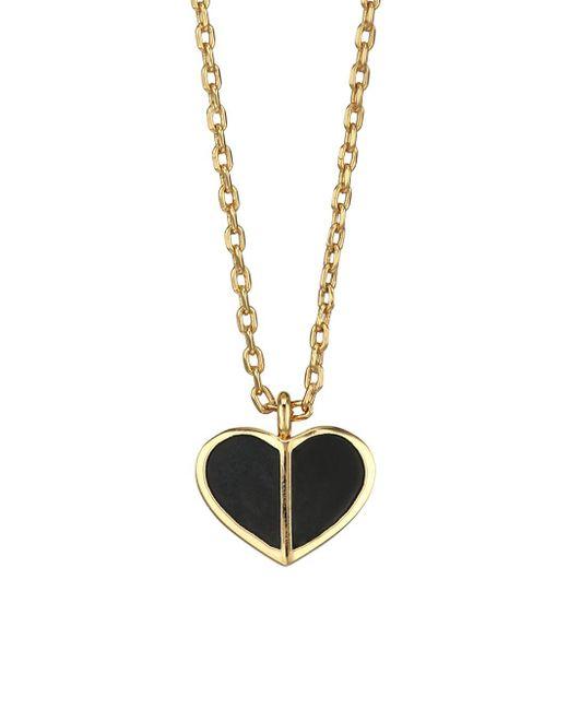 Kate Spade Black Enamel Heart Mini Pendant Necklace