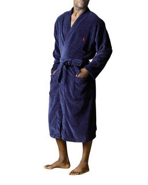 Polo Ralph Lauren | Blue Velour Robe for Men | Lyst