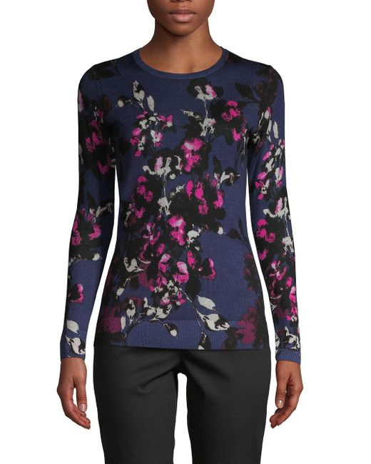 Lord & Taylor Blue Petite Floral Merino Wool Sweater