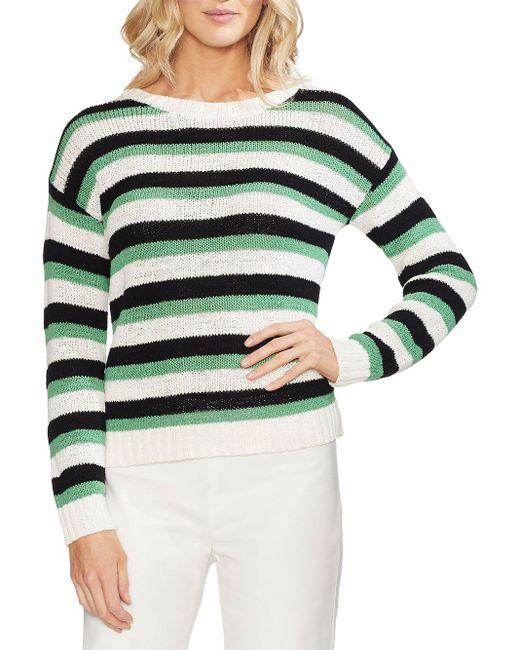 Vince Camuto Green Striped Drop - Shoulder Sweater