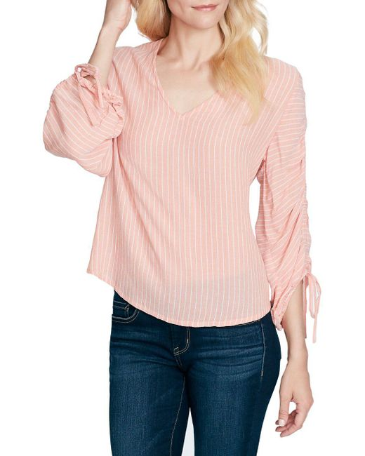 Jessica Simpson - Pink Miller V-neck Gathered-sleeve Top - Lyst