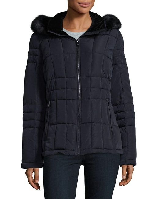 CALVIN KLEIN 205W39NYC - Blue Faux Fur Trim Quilted Coat - Lyst