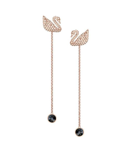 Swarovski Multicolor Iconic Swan Rose-goldplated Chain Earrings