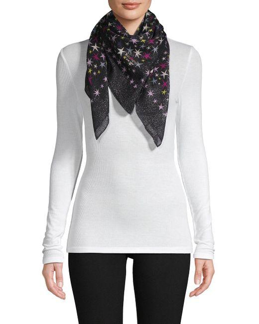 Kate Spade Black Star-print Wool Scarf