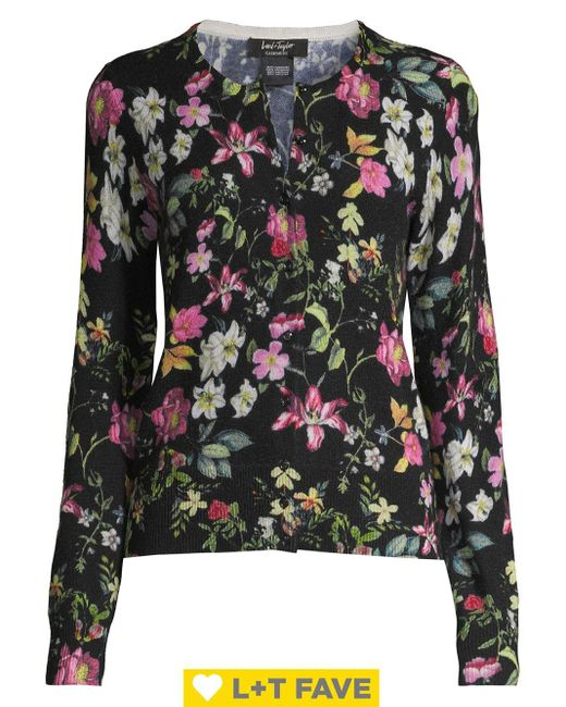 Lord & Taylor Black Petite Floral Button Front Cashmere Cardigan