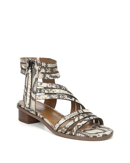 Franco Sarto Natural Elma Snakeskin-print Asymmetrical Sandals