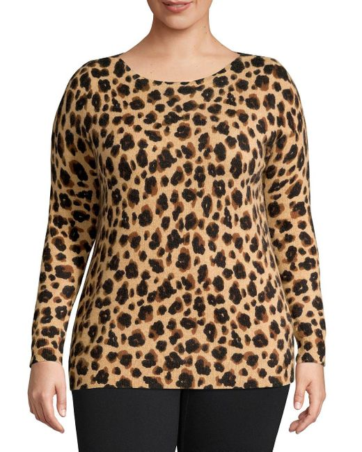 Lord & Taylor Brown Plus Leopard-print Cashmere Sweater