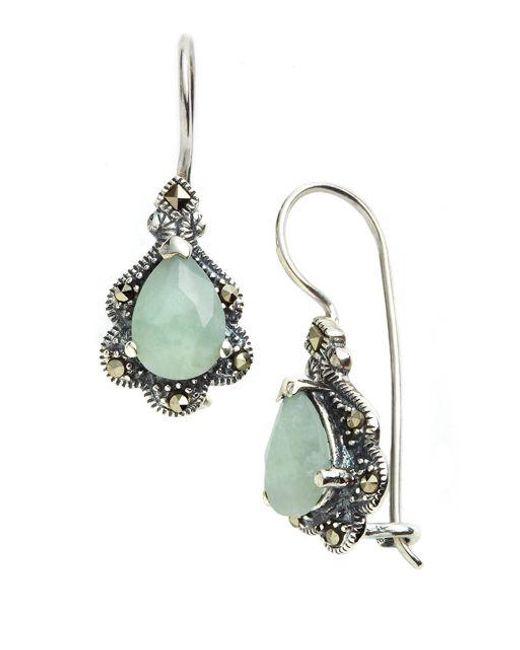 Appealing Silver Opal /& Marcasite Drop Earrings