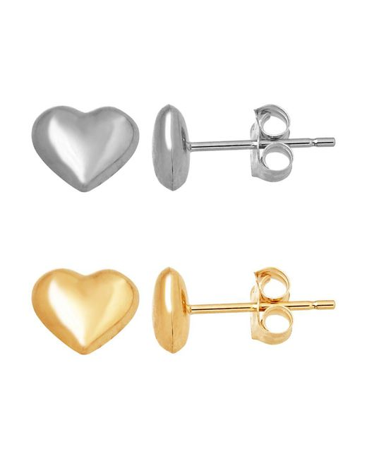 Lord & Taylor Metallic 14k Gold Heart Stud Earrings
