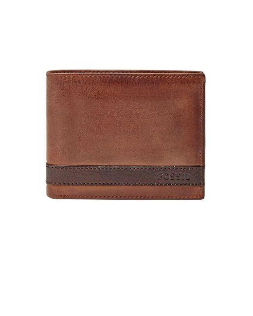 Fossil - Brown Leather Bi-fold Wallet for Men - Lyst
