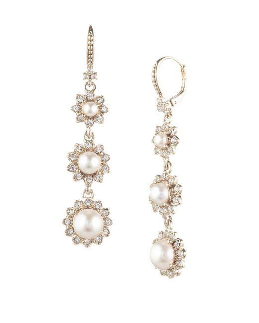 Marchesa - Metallic Goldtone & Faux Pearl Linear Drop Earrings - Lyst