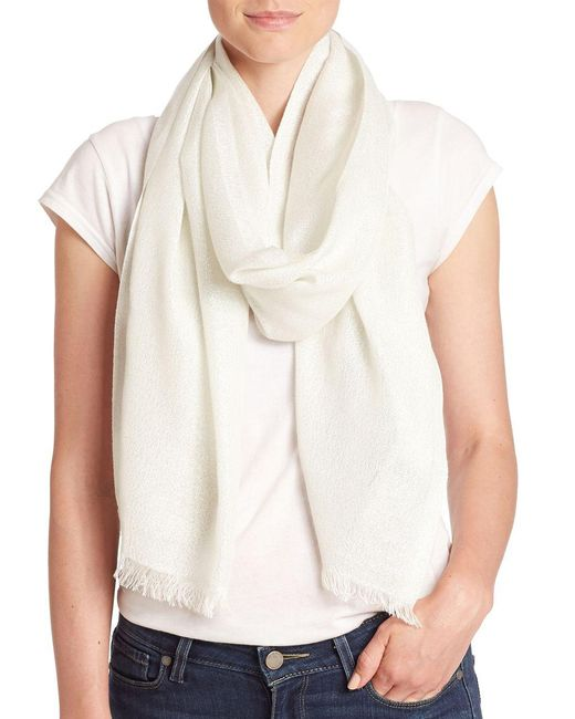 Lord & Taylor - White Shimmer Frayed Scarf - Lyst