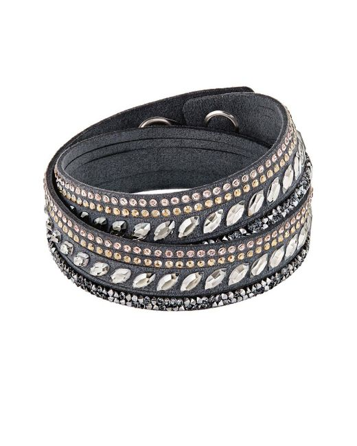 Swarovski - Gray Slake Pulse Grey Crystal-accented Leather Wrap Bracelet - Lyst