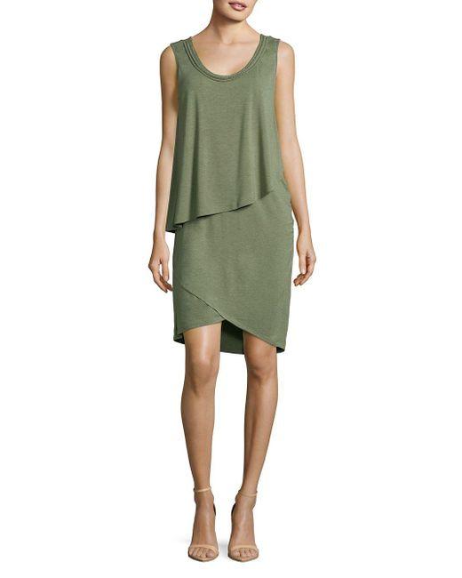 Jones New York - Green Sleeveless Asymmetric Layered Dress - Lyst