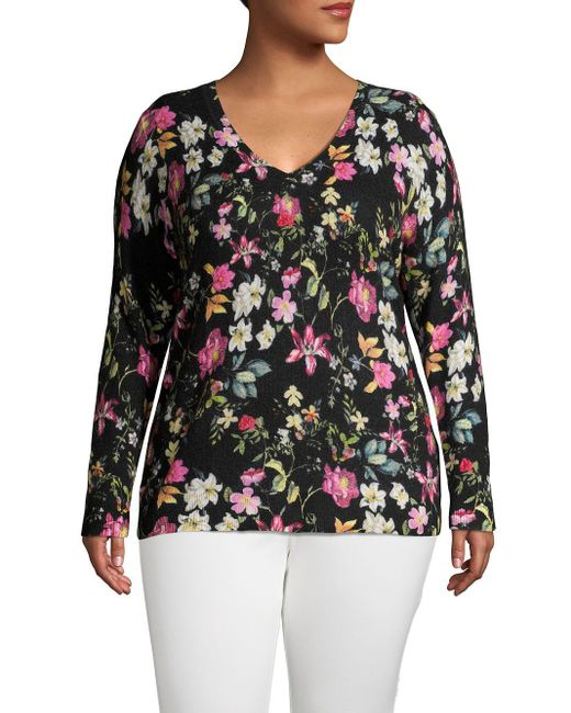 Lord & Taylor Black Plus Floral Cashmere V-neck Sweater