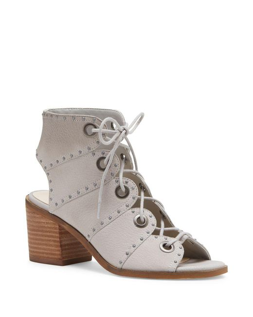 Jessica Simpson - Gray Leather Open Toe Lace-up Sandals - Lyst