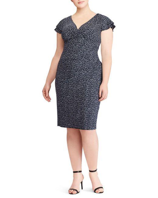 Lauren by Ralph Lauren - Blue Plus Jersey Flutter-sleeve Dress - Lyst