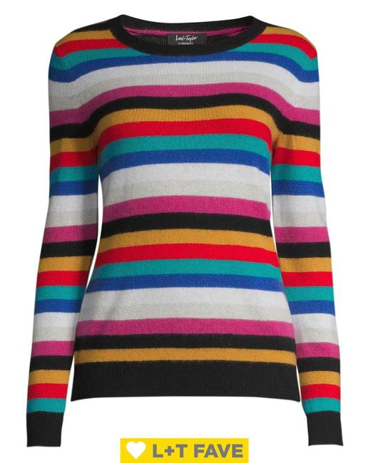 Lord & Taylor Multicolor Ribbed Cashmere Sweater
