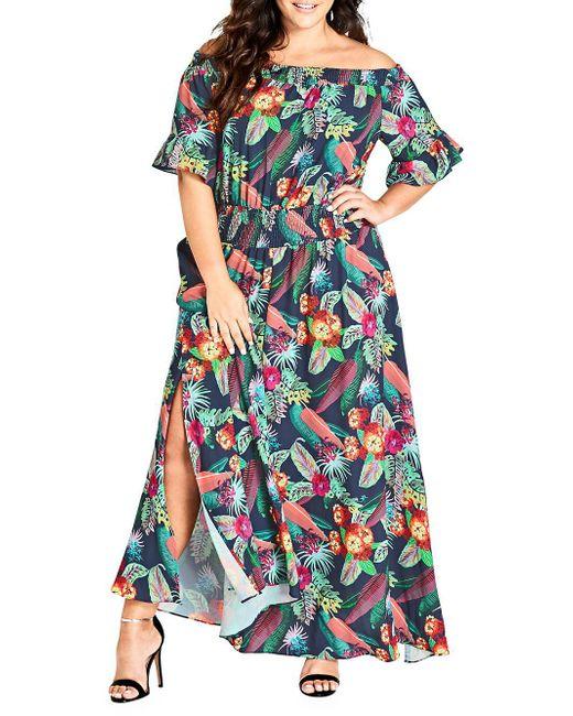 City Chic - Blue Plus Jungle Jam Maxi Dress - Lyst