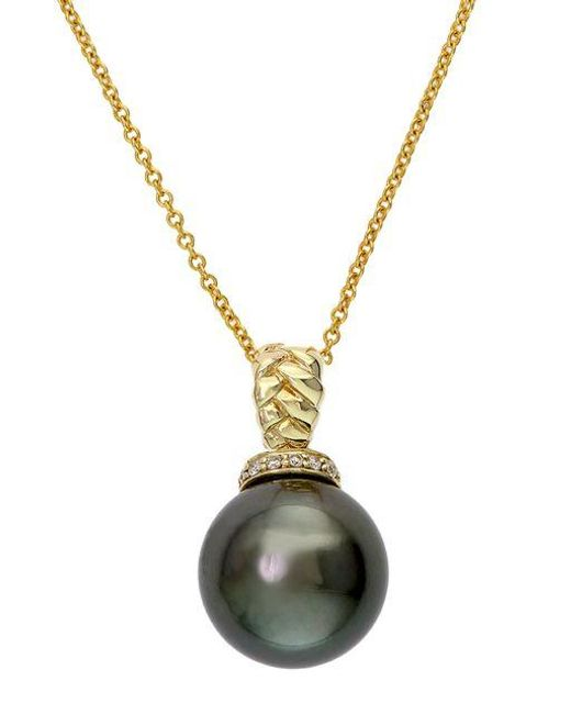 Effy Metallic 14k Yellow Gold Black Tahitian Pearl And Diamond Pendant Necklace