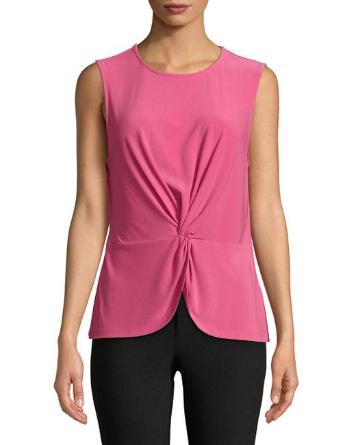 Donna Karan - Pink Front Twist Sleeveless Top - Lyst