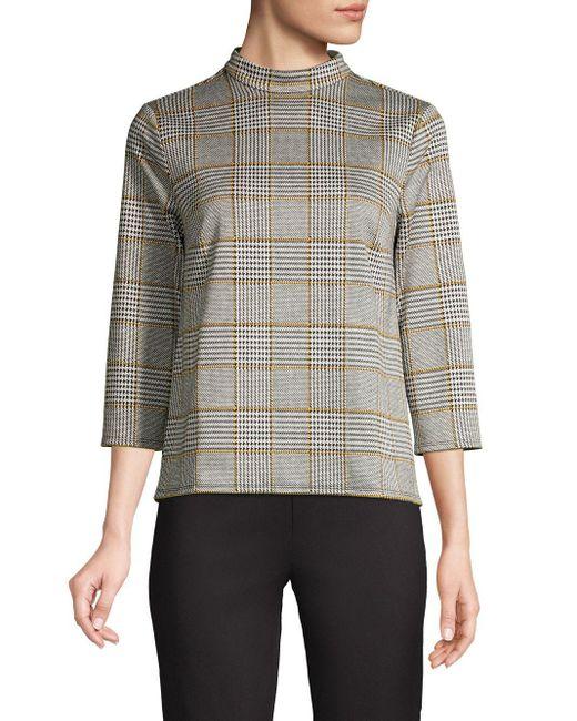 Lord & Taylor Gray Plaid Mockneck Sweater