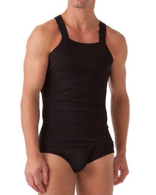 2xist - Black Ribbed Square-cut Tank for Men - Lyst