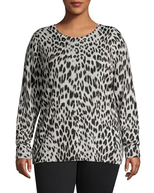 Lord & Taylor Multicolor Plus Leopard-print Crewneck Wool Sweater