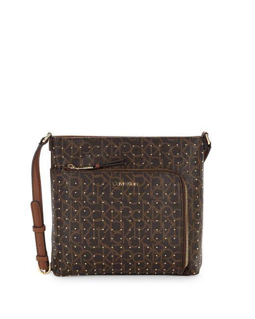 Calvin Klein - Brown Hudson Embellished Monogram Leather Crossbody Bag - Lyst