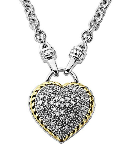 Lord & Taylor - Metallic Diamond Heart Pendant In Sterling Silver With 14 Kt. Yellow Gold 0.25 Ct. T.w. - Lyst