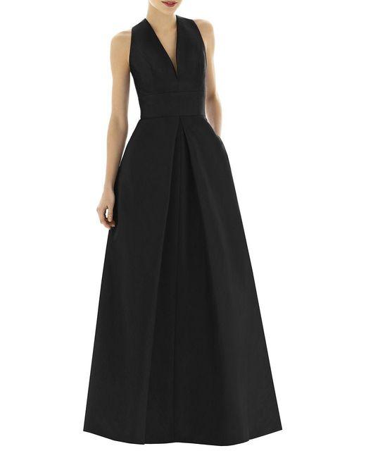 Alfred Sung - Black Full Length V-neck Dupioni Dress - Lyst