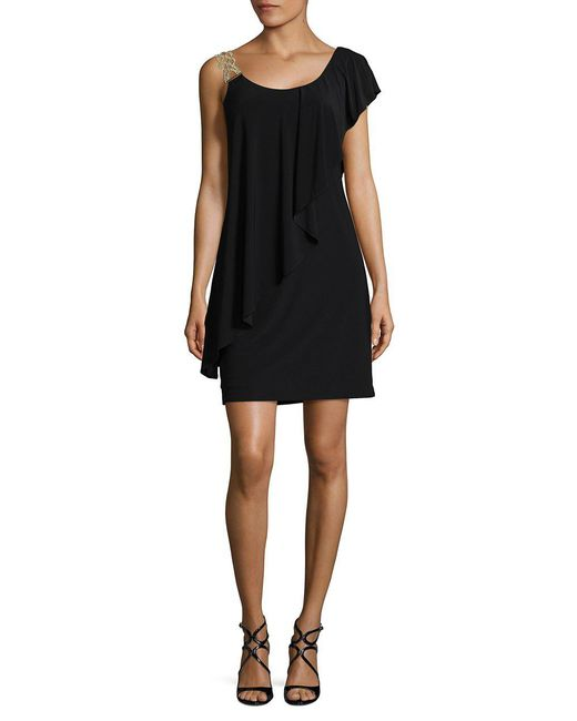 Betsy & Adam - Black One-shoulder Dress - Lyst