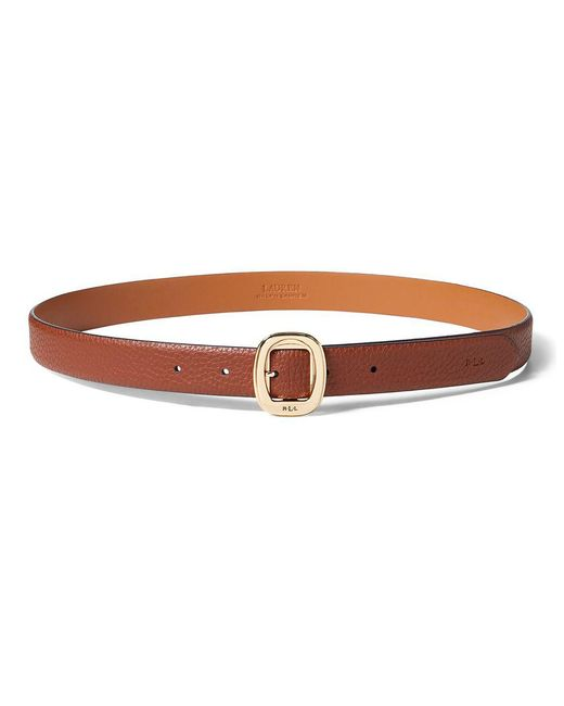 Lauren by Ralph Lauren - Brown ??ebbled Faux-leather Belt - Lyst