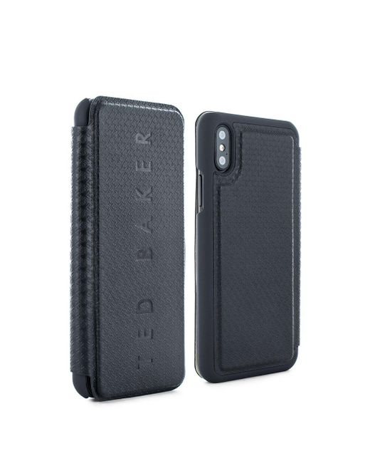 5e86d24d5cf803 Lyst - Ted Baker Bhait Textured Iphone X Card Slot Folio Case in Black