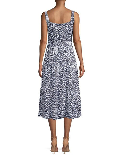 7ccee9bf85e MICHAEL Michael Kors Viper Print Tiered Midi Dress in Blue - Save 42 ...