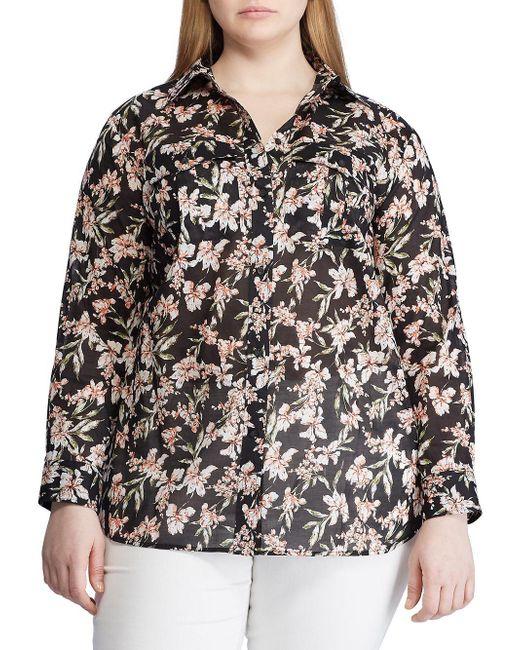 Lauren by Ralph Lauren Black Plus Floral Print Cotton Button-down Shirt