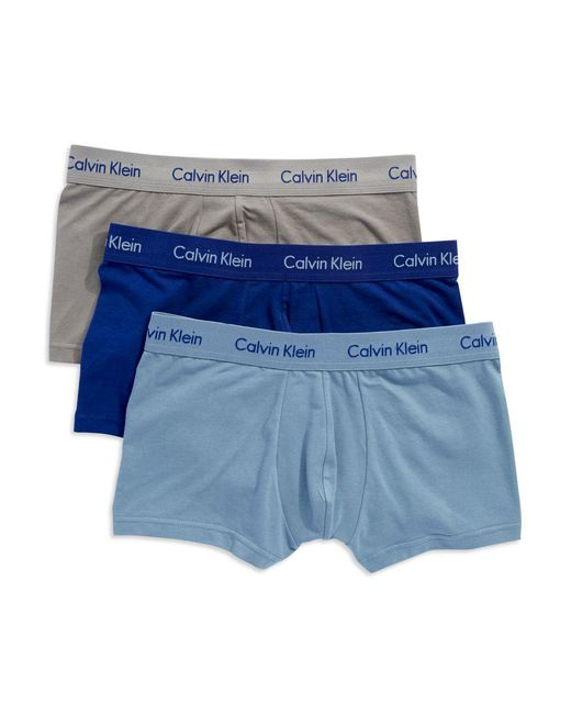 Calvin Klein | Blue 3-pack Stretch Cotton Low-rise Trunks for Men | Lyst