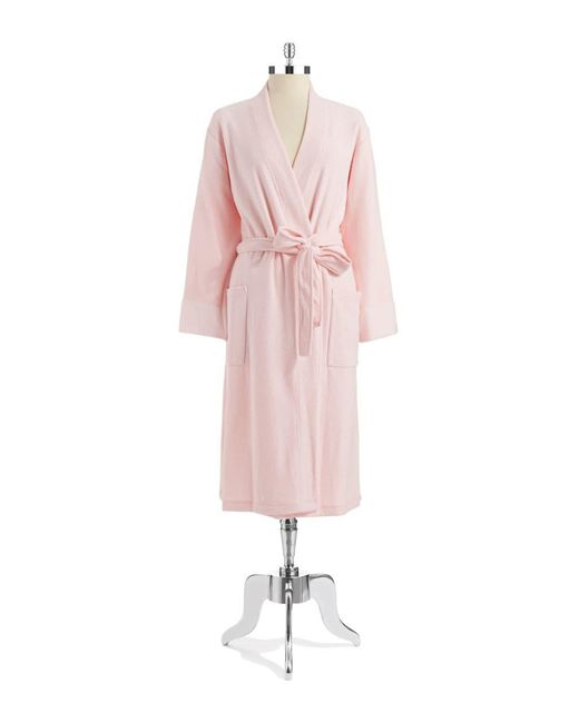 N Natori - Pink Brushed Terry Open Front Robe - Lyst